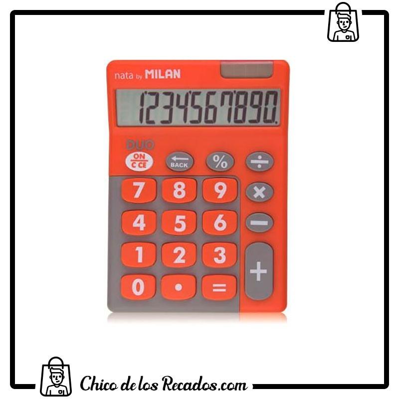 Calculadoras de bolsillo - Calculadora Duo 10 Digitos Blister Teclas Grandes Naranja Milan - MILAN