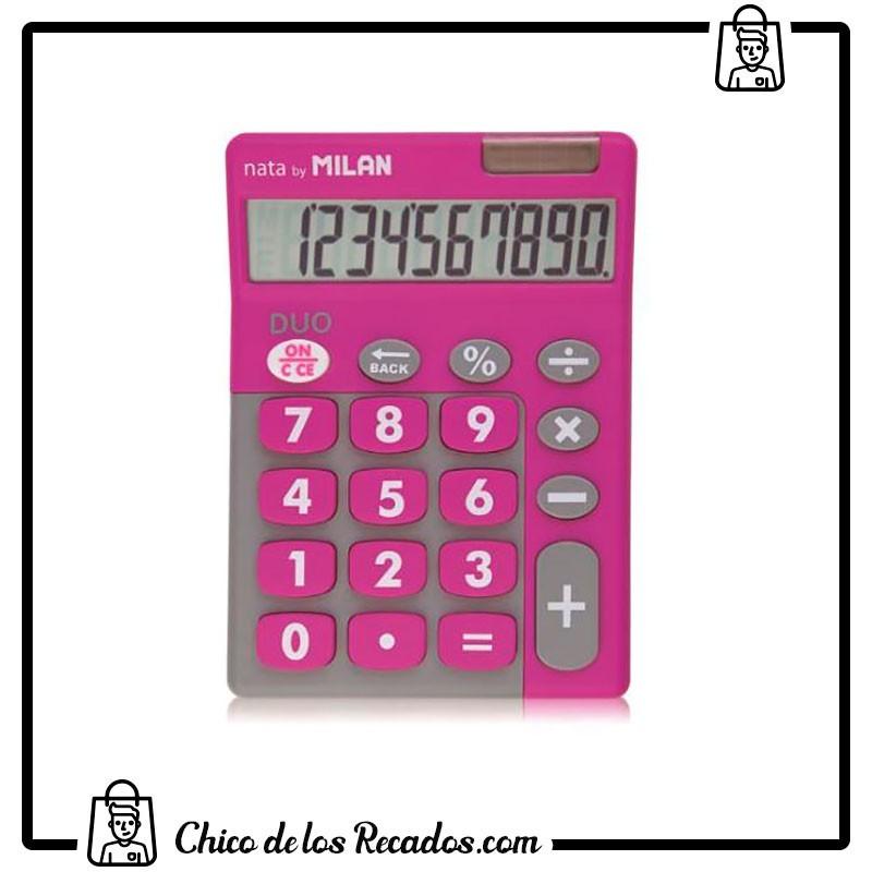 Calculadoras de bolsillo - Calculadora Duo 10 Digitos Blister Teclas Grandes Rosa Milan - MILAN