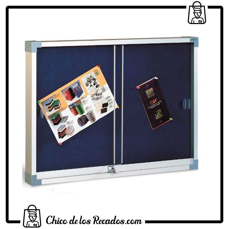 Vitrinas de interior - Vitrina Corcho Tapizado Puertas Metacrilato 90X120 Azul Faibo - FAIBO