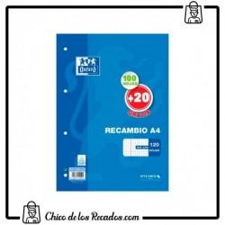 Recambios papel - Recambio A4 100Hj + 20 Gratis Cuadro 4Mm Mrg Azul 4T Oxford - Oxford