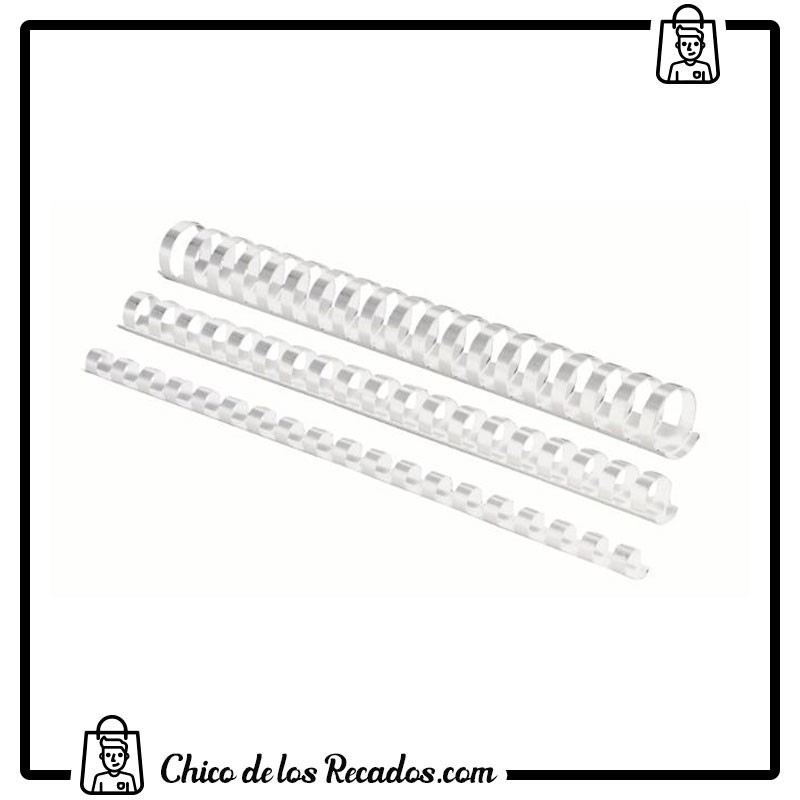 Accesorios encuadernación canutillo plástico - Canutillo PLÁSTICO 12Mm Blanco Cj.100U Fellowes - FELLOWES